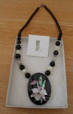 Lee Sands Mother of Pearl & Abalone Shell Flower Pendant Necklace