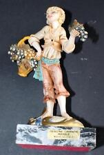 "Vtg 50s Depose Italy Simonelli Carrera Marble Base Boy w Grapes 8""h Figurine"
