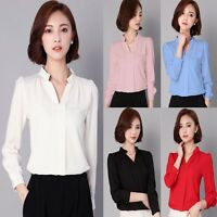 OL Style Women Elegant Slim Long Sleeve Casual Chiffon Blouse Career Shirt Tops