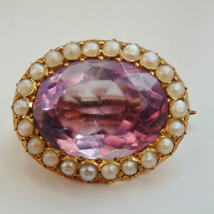 Fine Antique Victorian 15ct Gold Amethyst & Pearl Lace Pin Brooch c1880