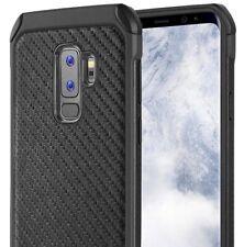 SAMSUNG GALAXY S9+ PLUS - Hybrid Shockproof Armor Case Cover Black Carbon Fiber