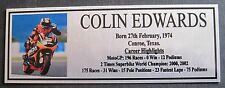 COLIN EDWARDS Sublimated Silver Plaque Free Postage