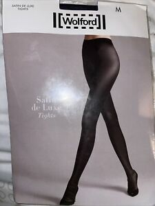 Wolford Satin De Luxe Tights Color:  Classic Blue Size Medium 11415 - 24
