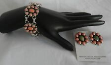Navajo Nakai Sterling Silver Turquoise/ Rose Coral Bracelet and Earring Set