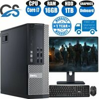 DELL QUAD CORE i7 DESKTOP PC TOWER COMPUTER WINDOWS 10 16GB RAM 1TB HDD UK