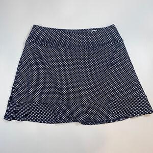 Golftini Putt Putt Navy White Polka Dot Golf Skirt Skort Women Large Ruffle