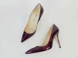 Manolo Blahnik Burgundy Patent Leather Pointed Toe Pumps Heels Shoes Size 38.5