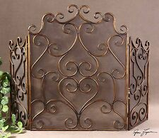 RICH LARGE 55  FORGED METAL DECORATIVE FIREPLACE SCREEN AGED MAPLE GOLD LEAFSteel Fireplace Screens   Doors   eBay. Metal Fireplace Screens. Home Design Ideas
