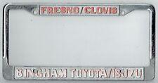 Fresno Clovis California Bingham Toyota Isuzu JDM Vintage License Plate Frame