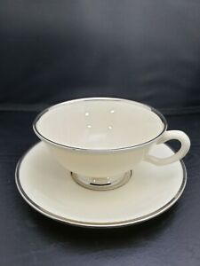 Lenox Montclair Cup Saucer Set 1960's Platinum Rim Fine China