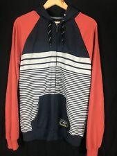 MAMBO Zip Front Long Sleeve Striped Navy Orange Jumper Hoodie Size Large