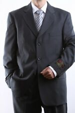MEN'S SINGLE BREASTED 3 BUTTON CHARCOAL DRESS SUIT SIZE 36S, PL-60513-CHA