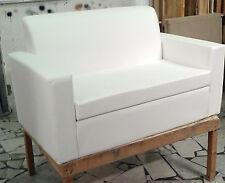 Divano due 2 posti Divanetto bianco tessuto ecopelle sofà poltrona relax sedia