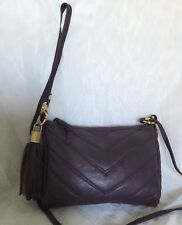 Purple Padded GENUINE LEATHER Cross Body/Shoulder Bag / Handbag