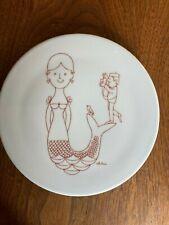"""Vintage Bing & Grondahl Ceramic Trivet Denmark Mermaid Copenhagen Antoni 6"""" Red"""