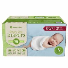 Member's Mark Comfort Care Baby Diapers Newborn Up To 10 Lbs - 108 Ct