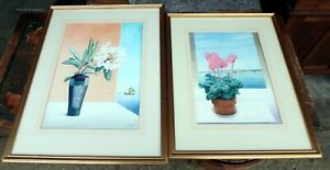 Charles Page 1980s vintage pair original signed still life watercolours flowers