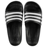 NEW Adidas Mens Duramo Sliders Flip Flops Black/White  SIZE FROM 6-18