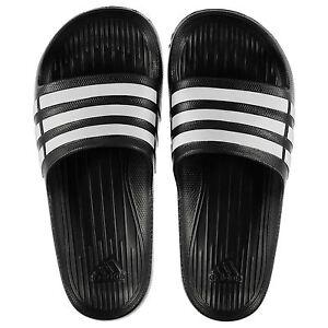 NEW Adidas Mens Duramo Sliders Flip Flops Black/White  SIZE FROM 7-18