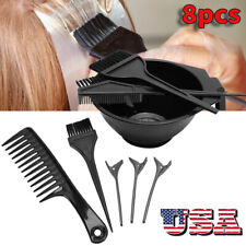 8pcs Pro Hair Dyeing Tool Highlights Comb Hair Clip Dyestuff Mixing Bowl Set US