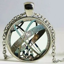 Sundial Globe Astronomy Glass Cabochon Pendant Necklace & Gift Bag