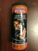 Weiman Leather Conditioning Wipes Furniture Car Seats Shoes Cleaner Polish 30 ct
