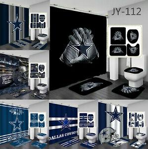 Dallas Cowboys Bathroom Rugs Set 4PCS Shower Curtain Non-Slip Toilet Lid Cover