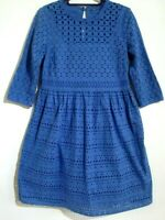 M&S COLLECTION SIZE 8 BLUE BRODERIE ANGLAISE KNEE LENGTH 3/4 SLEEVE DRESS