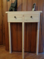 H80 W59 D15cm BESPOKE UNTREATED 2 DRAWER CONSOLE HALL TELEPHONE SIDE TABLE