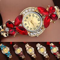 HK-  Women Retro Butterfly Rhinestone Cuff Bracelet Quartz Bangle Wrist Watch  W