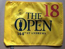 ZACH JOHNSON Signed 2015 British Open Flag Auto PGA Authentic ST ANDREWS
