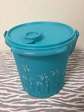 Tupperware Bucket with Handle Aqua w/ Flowers 5qt New