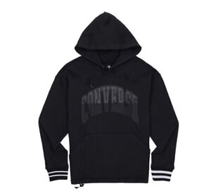 Converse Men TWISTED VARSITY PULLOVER HOODIE Black 10018358-a04