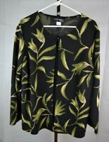 Requirements Women's Blouse Size 1X Long Sleeve Round Neck Black/Leaves