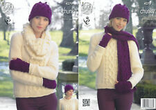 Womens Chunky Knitting Pattern King Cole Jumper Hat Scarf Fingerless Gloves 4279