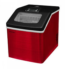 Ice Maker 40 lbs. Countertop Red Stainless Steel Clear Square X-Large Capacity