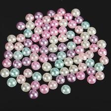 3000 Mixed Color Acrylic Half Pearl Craft Decoration Bead Flatback Scrapbook 4mm