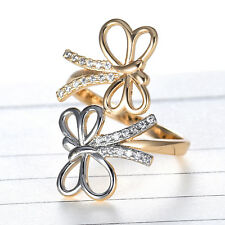 Two Dragonfly Adjustable Wrap Silver & Gold Filled Crystal Rhinestone Women Ring