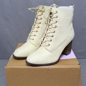 JOURNEE COLLECTION womens lace up side zip BAYLOR ankle boots size 10 M bone NEW