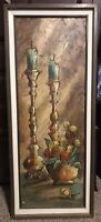 "RUIZ SIGNED 42"" OIL ON CANVAS IMPRESSIONIST STILL LIFE PAINTING"