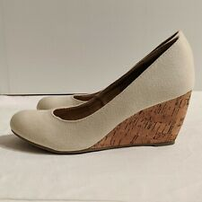 Nine West Justine Wedge Cork Heels Size 5.5 in Bone/Off-White Canvas NWOT