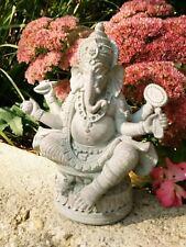 @ Ganesha / Ganesh Buddha Figur Hindu grau sitzend mit Ratte Lotus Neu 18,5 cm