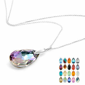 Made with Swarovski Crystal Necklace Teardrop Pendant Multi listing Gift