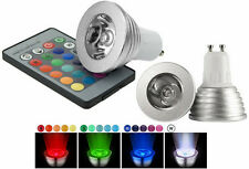Faretto RGB base GU10.LED multicolor 3W.Faro lampada lampadina  GU + telecomando