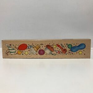 Birthday Celebration Border Wood Mounted Rubber Stamp - Whispers