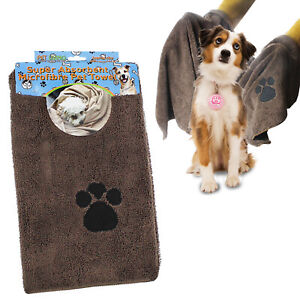 Microfibre Dog Towel Pet Wash Bath Fast Dry Cat Puppy Drying Absorbent Cleaning
