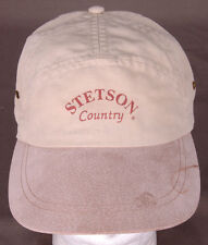 Vtg Stetson Country Baseball Hat-Tan-Canvas-Leather Strap-Made in USA-Suede Bill