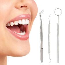 3stk Dentalset Mundspiegel Zahnsonde Zahnsteinkratzer Zahnreiniger Zahnspiegel