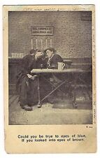 COULD BE TRUE TO EYES OF BLUE BROWN Bar Pub Men Drinking Comic Humor  Postcard