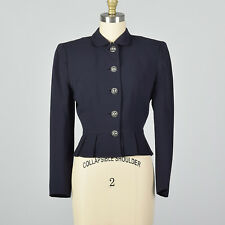 Xxs 1950s Navy Blue Cropped Jacket Domed Buttons Fall Suit Jacket Separates